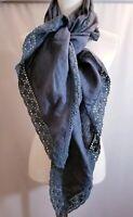 CP Shades Triangle  Shawl Scarf Crochet Trim Gray Linen One Size