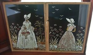 Two Beautiful Vintage Art Deco Pictures Crinoline Lady (Glass)