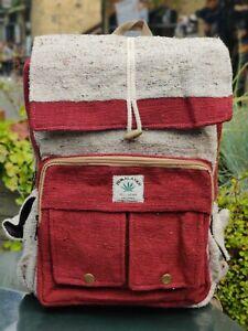 Hemp Bagpack natural eco redish themed trendy Handmade organic sustainable bag