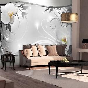 VLIES FOTOTAPETE Blumen Orchidee silber grau Wohnzimmer TAPETE WANDBILDER XXL 48