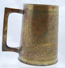 """5"""" BRASS STEIN CUP MANUFACTURED FROM THE BATTLE FIELD OF WWII W/MAP DESIGN RARE"""