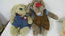 WRINKLES PLUSH DOGS (2)  VINTAGE WITH COLLAR HERITAGE COLLECTION & GANZ W BONE