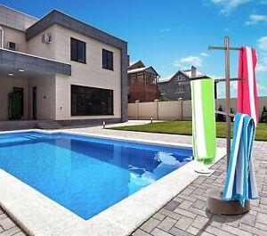 Outdoor portable towel holder rack - pool patio spa yard - BROWN