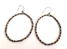 Rare!! Silpada Sterling Silver Brass Copper Bead Hoop Large Earrings W2248
