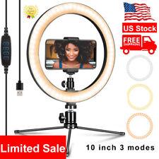10''Led Ring Light Phone Holder Pro Portable Photo Selfie Makeup Tripod Stand