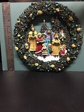 Christmas Wreath Hand Painted Poly Resin Old Tyme Carolers 1960s in Box Vintage
