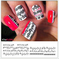 Black Musical Notes Piano Nail Art Waterslide Decals Transfer - Salon Quality!