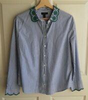 J Crew Womens Blue Striped Green Eyelet Trim Perfect Shirt Top Blouse Size 14