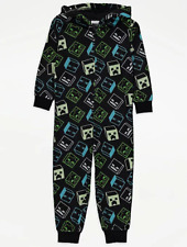 Official Minecraft Boys Fleece Hooded Onesie Brand New