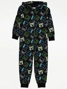 Official Minecraft Boys Fleece Hooded Onesie Brand New