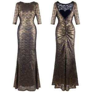 Angel-fashions Schier Perlen Spitze Halbe Hülse Bodycon Maxi Abendkleid 415 Gold