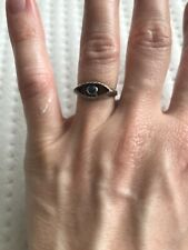 In God We Trust Sterling Silver Eye & Blue Sapphire Ring UK Size L / US Size 5.5