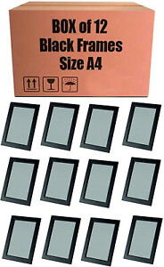 Box of 12 Black A4 Picture Frames Certificate Freestanding and Wall Mount