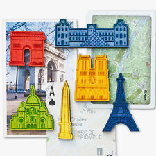 """Magnets - """"Paris Icons"""" - Set of 6 Laser-cut Wood Magnets - Colorful & Strong"""