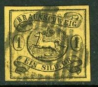 Germany 1861 Braunschweig 1 sGr Black/Yellow SG #17 VFU G145 ⭐⭐⭐⭐⭐⭐