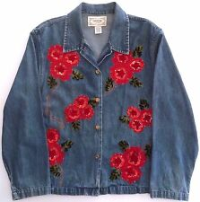 Womens Ugly Christmas Top Denim Blue Jean Shirt Sequins Red Flowers Size Large