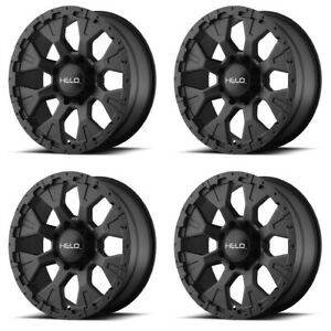 Set 4 17x9 Helo HE878 Black Wheels 6x5.5 -12mm Lifted 6 Lug Truck Rims w/ Lugs