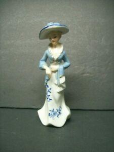 Vintage Porcelain Elegant Victorian Lady Figurine with Gold-Trim & Blue Flowers