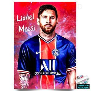 Lionel Messi PSG Football Super Star Wall Art Poster A5 A4 A3 A2 A1 *Laminated*
