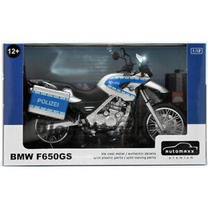 AUTOMAXX 600404 1:12 BMW F650GS DIECAST MOTORCYCLE POLICE POLIZEI