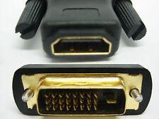 Hdmi hembra a macho DVI-D Adaptador Convertidor de 24+1 Pines Oro Pc Laptop Lcd Hdtv
