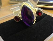 Purple Amethyst Topaz Silver Cocktail  Ring Size 8