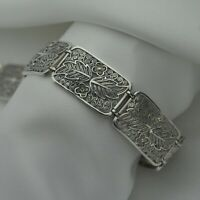 Vintage Floral Filigree Design Panel Bracelet in Solid 925 Sterling Silver