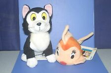 "DISNEY Pinocchio FIGARO Cat & Cleo Goldfish Plush Doll SET SEGA1996' 4.8""&7.6"""