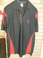 Nike Dri Fit Mens Oklahoma Sooners OU Coaches Sideline Polo M Black/Crimson EUC
