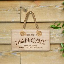 "Man Cave Wooden ""busy doing Nothing! Plaque Shed Personalised Dad Gramps Husband"