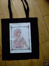 Art Deco style Lady cotton shopper tote bag Black NEW