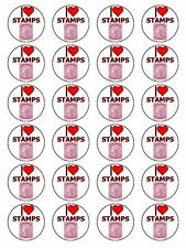 "x24 1.5"" I Love Stamps And Stamp Collecting Cupcake Topper On Edible Rice Paper"