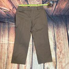 New York & Company Women Size 10 Khaki Cropped Capri Pants Brown Stretch - C36
