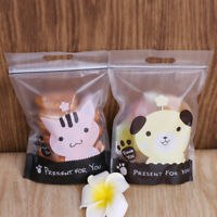 50Pcs Cute Plastic Zip Lock Bags Bakery Biscuit Cookie Candy Gift DIY Pouches