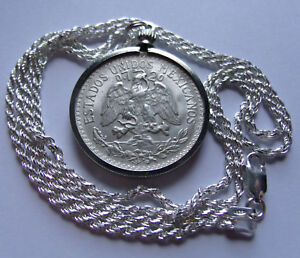 """SILVER 1944 MEXICO 50 Centavos Pendant on a 24"""" 925 ITALY Silver Rope Chain 28mm"""