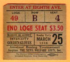 VINTAGE 1946 BOXING TICKET STUB-3/25/46 GOLDEN GLOVES @ MADISON SQUARE GARDEN