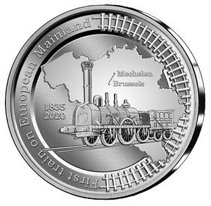 2020 Belgium 5 Euro 1st Europe Railroad Train 185th Ann. Silver Coin - 5000 Made