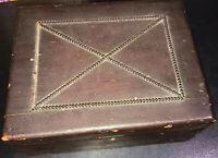 """Original US Civil War Era Dark Stained Wood Box 11"""" x 8.5"""" x 5"""" Document Lock !"""