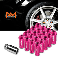 M12X1.5 Pink JDM Open-End Acorn Hex Wheel Lug Nuts+Extension 25mmx50mm Tall 20Pc