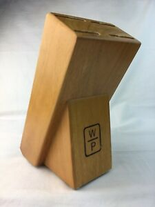 Butcher Block W P Wooden Knife 4 Slot Solid Oak Finish Block Only Hgh Quality