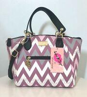 Betsey Johnson Dome Satchel Crossbody Handbag Purple Gray Wht Striped Purse NWT