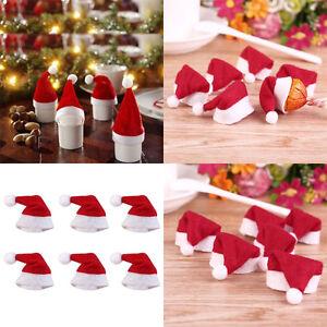 Lot 30pcs Mini Santa Claus Hat Christmas Party Xmas Decor Holiday Lollipop Du