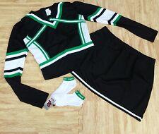 Black Kelly Cheerleader Uniform Tops Skirt Socks 39-41/34-37 Cosplay Celtics New