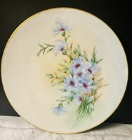 Limoges Hand Painted Artist Signed Plate Blue Flowers Purple Centers Gold Rim