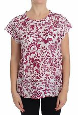 NWT $360 DOLCE & GABBANA D&G Red Floral Cap Sleeve Silk Blouse Tunic IT48 / US14