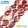 """Oval Drop Red Banded Agate Gemstone Loose Beads for Jewelry Making Strand 15"""""""