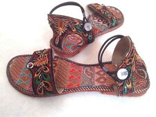 US 6.5  women handmade sandal leather sole beaded bollywood shoes emroidered art