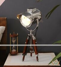 VINTAGE COLLECTIBLE CHROME STAINLESS STEEL CAP TABLE LAMP WITH BROWN TRIPOD