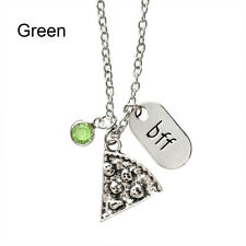 Hot Silver Slice Pizza Crysal Pendant Best Friend Forever Friendship Necklace