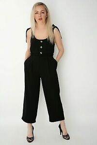 New Womens Ex nobodys child Black Twill Pockets Wide Leg Crop Trouser Size 8-16